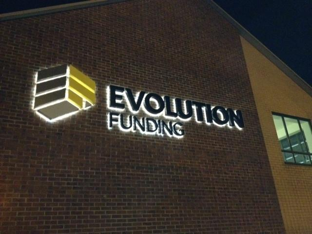 Evolution Funding 3d illuminated sign Sheffield