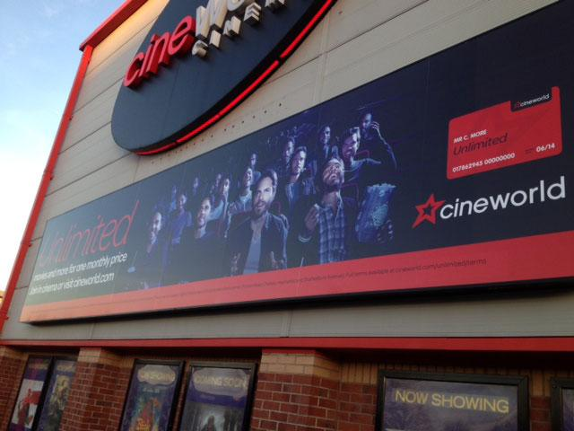 Cineworld external signage in Sheffield