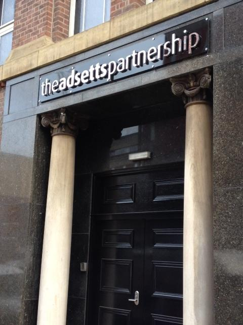 The Adsetts Partnership door sign Sheffield