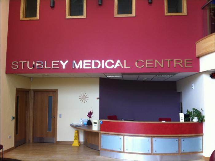 Stubley Medical Centre stainless steel letters Sheffield