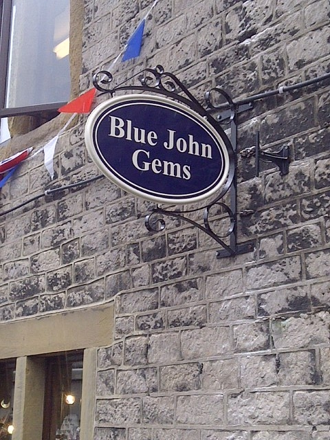 Blue John Gems projecting sign