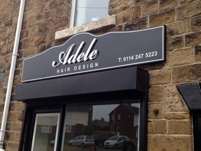 Adele Hairdressers shop sign Sheffield