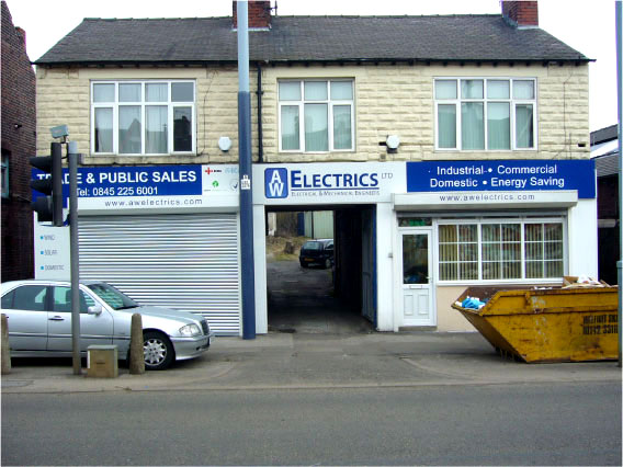 A W Electrics Ltd - Wholesalers shop sign Sheffield