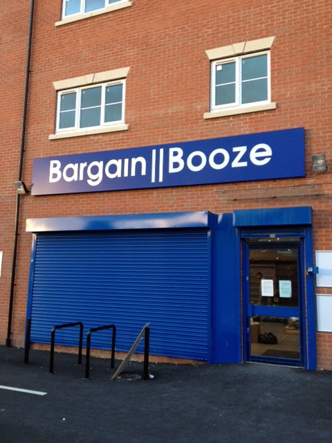 Bargain Booze fret cut sign, drinks shop sign Sheffield