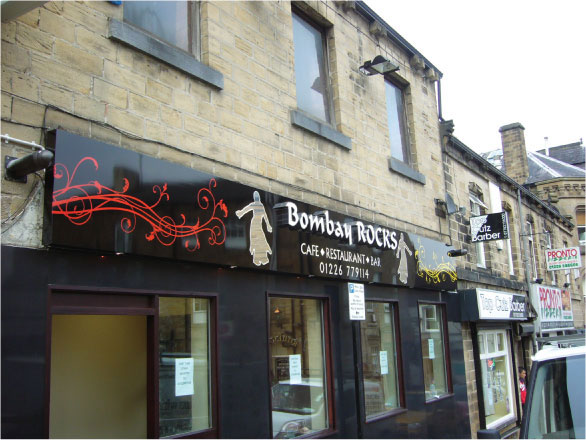 Bombay Rocks Restaurant Sign, Shop Signs Sheffield