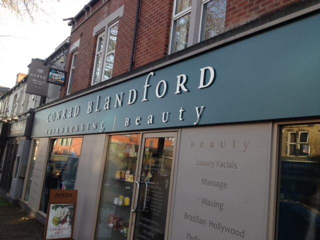 Conrad Blandford Hairdressing 3d shop sign Sheffield