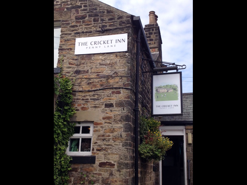 Cricket Inn pub signage Sheffield