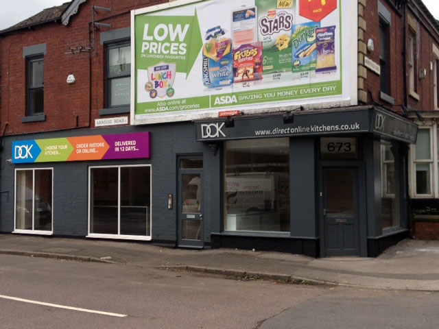 DOK kitchens fret cut signage shop sign Sheffield