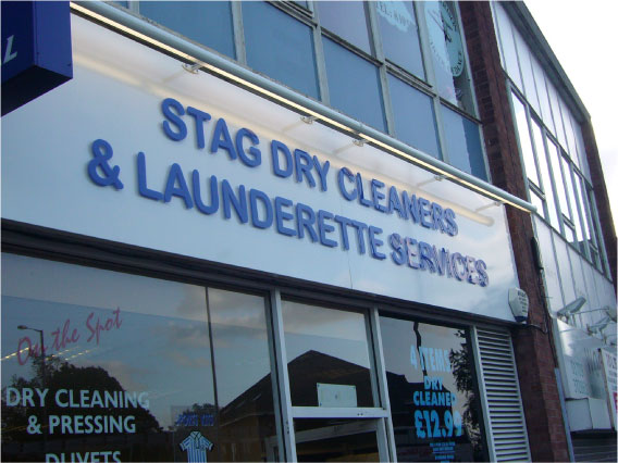 Stag Dry Cleaners illuminated sign
