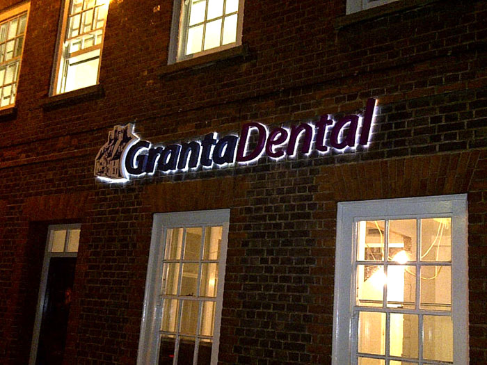 Granta Dental illuminated 3d signs Sheffield