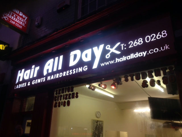Hair All Day hair salon shop sign Sheffield