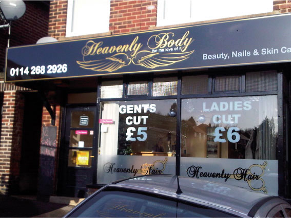 Heavenly Body beauty shop sign Sheffield