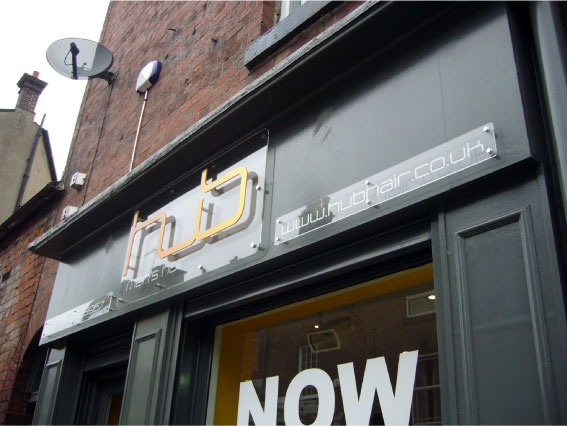 Hub hair salon shop signs Sheffield