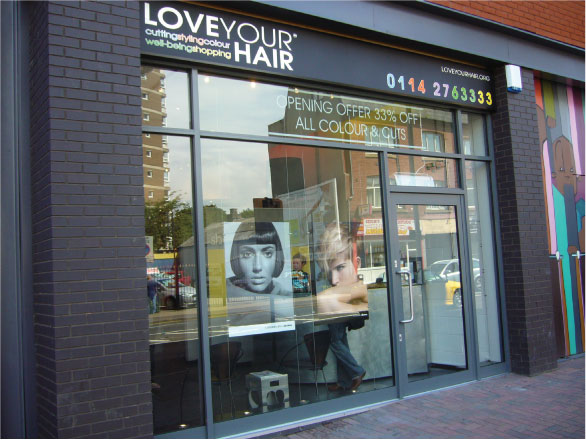 Love Your Hair shop front - Hairdressers Shop Sign