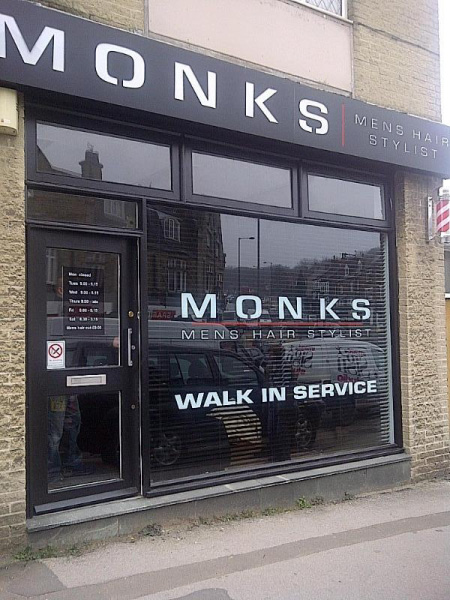 Monks shop front - Barber Shop Sign
