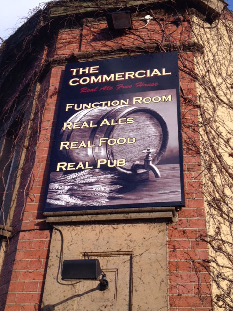 Pub signage for The Commercial