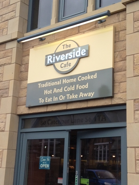 The Riverside Cafe tray sign
