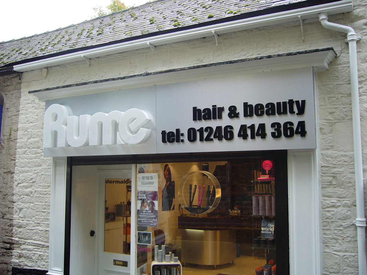 Rume shop front - Perspex Built Up Letters