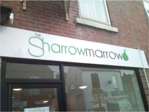 The Sharrow Marrow Fruit N Veg Shop Sign
