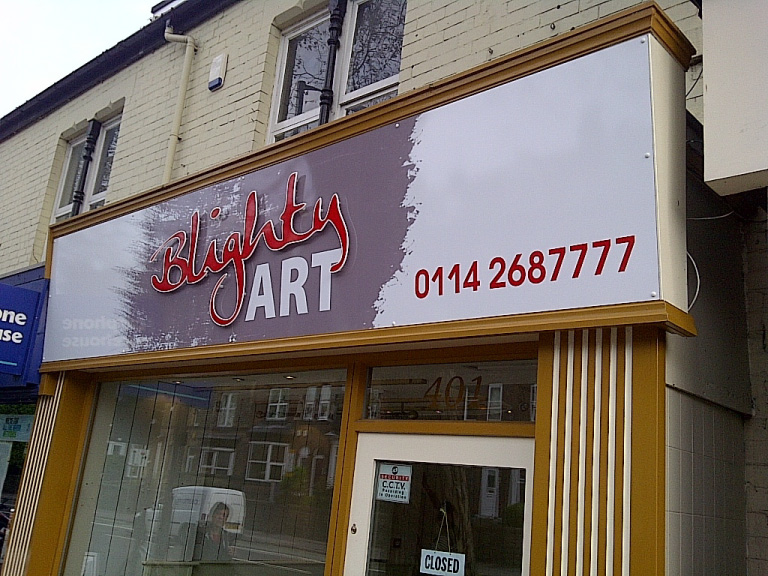 Blighty Art Shop Sign