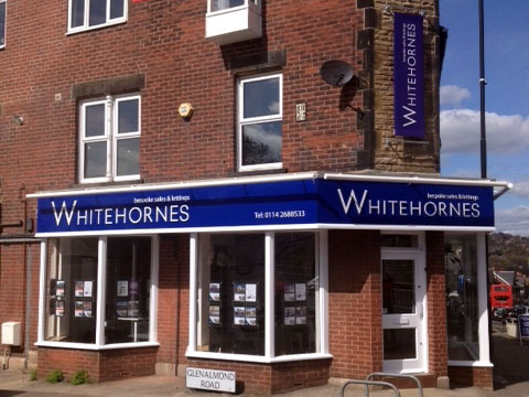 Shop signs Sheffield - Whitehornes Estate Agents at Banner Cross
