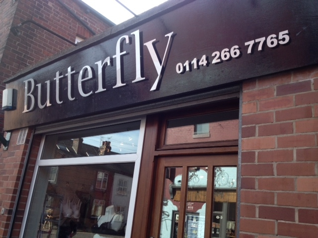 Butterfly shop sign Sheffield