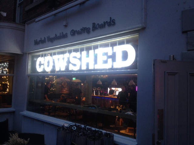 Cowshed restaurant signageSheffield