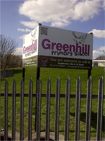 Greenhill Primary School digitally printed post signs Sheffield