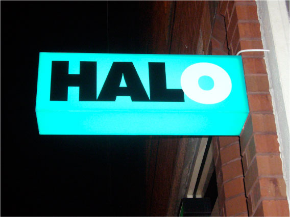 Halo illuminated projecting shop sign Sheffield
