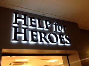 Illuminated shop sign for Help for Heroes