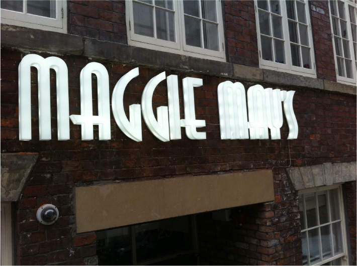 Maggie Mays illuminated 3d sign in Sheffield