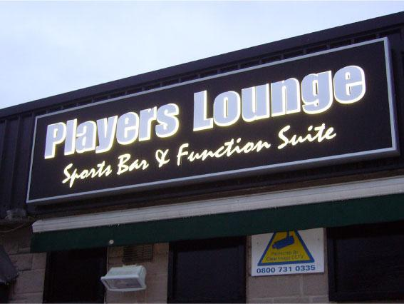 Players Lounge illuminated LED 3d shop sign Sheffield