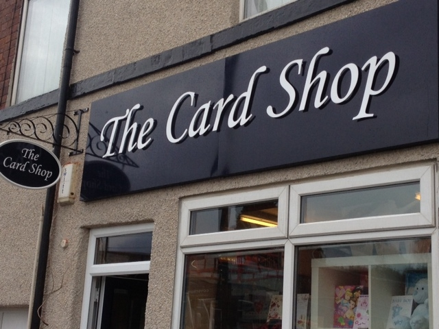 The card shop sign Sheffield