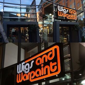 shop signs for Wigs and Warpaint Sheffield