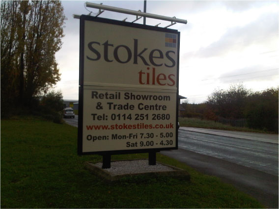 Stokes Tiles free standing sign